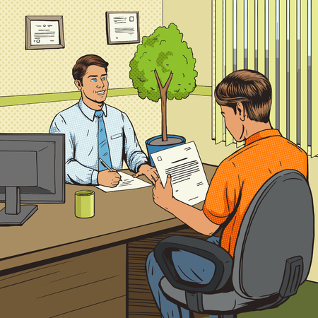 talks: Businessman in bank office pop art retro style vector illustration. Comic book style imitation. Man talks with banker. Human illustration. Vintage retro style. Conceptual illustration Illustration