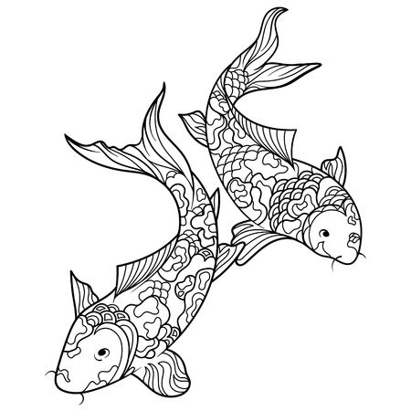 Koi carp fish coloring book for adults illustration. Anti-stress coloring for adult. Zentangle style. Black and white lines. Lace pattern