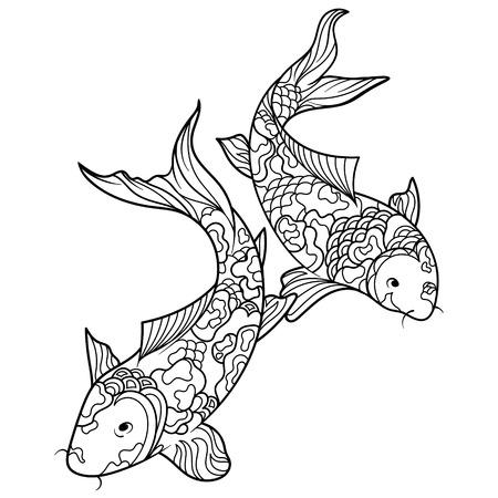 Koi libro para colorear peces carpa para adultos ilustración. Antiestrés colorear para adultos. estilo de Zentangle. líneas blancas y negras. modelo del cordón Ilustración de vector