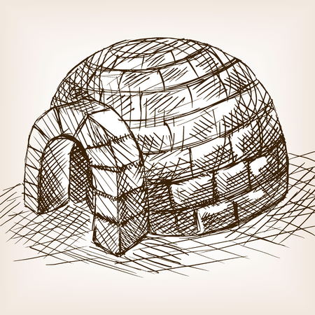 snow house: Igloo snow house sketch style illustration. Old engraving imitation. Igloo hand drawn sketch imitation