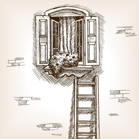 open window: Open window and ladder near house sketch style illustration. Old engraving imitation. Open window in house wall hand drawn sketch imitation Illustration