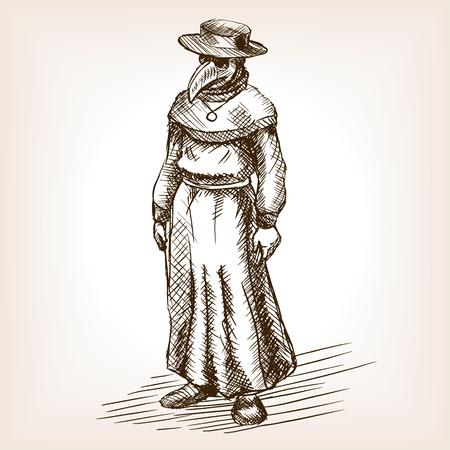전염병 의사 스케치 스타일 그림입니다. 오래 된 조각 모방입니다. 역병 의사 손으로 그려진 스케치 모방