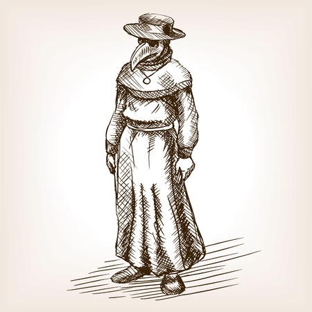 Plague illustration de style de croquis de médecin. Ancienne gravure imitation. Plague main médecin imitation croquis dessiné Vecteurs