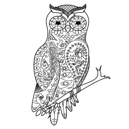 Owl bird coloring book for adults illustration. Anti-stress coloring for adult. Zentangle style. Black and white lines. Lace pattern