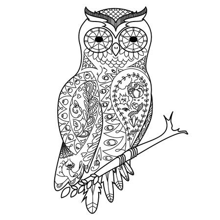 Owl Vogel Malbuch Für Erwachsene Vektor-Illustration. Anti-Stress ...