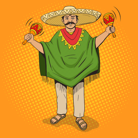 poncho: Mexican in sombrero and poncho with maracas pop art style illustration. Human illustration. Comic book style imitation. Vintage retro style. Conceptual illustration Illustration