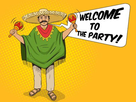 poncho: Mexican in sombrero and poncho with maracas pop art style vector illustration. Human illustration. Comic book style imitation. Vintage retro style. Conceptual illustration Illustration