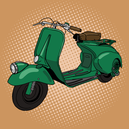 Scooter pop art style illustration. Hand drawn doodle. Comic book style imitation. Vintage retro style. Conceptual illustration Ilustração Vetorial