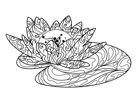 antistress: Lotus water lily flower coloring book for adults vector illustration. Anti-stress coloring for adult. Zentangle style. Black and white lines. Lace pattern Illustration