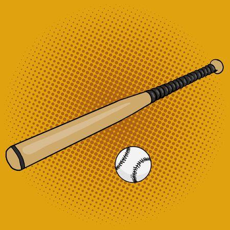 cartoon strip: Baseball bat and ball pop art style vector illustration. Hand drawn doodle.  Comic book style imitation. Vintage retro style. Conceptual illustration