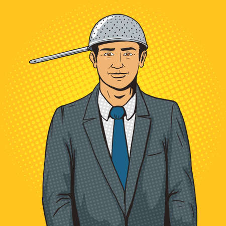 colander: Man with strainer on head pop art style vector illustration. Pastafarian man with colander. Human illustration. Comic book style imitation. Vintage retro style. Conceptual illustration