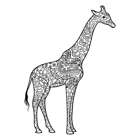 Giraffe coloring book for adults vector illustration. Anti-stress coloring for adult. Zentangle style. Black and white lines. Lace pattern Vettoriali