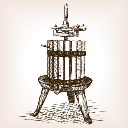 ブドウのプレスは、スタイルの図をスケッチします。古い彫刻の模倣。ブドウは手描きのスケッチの模倣のために押す