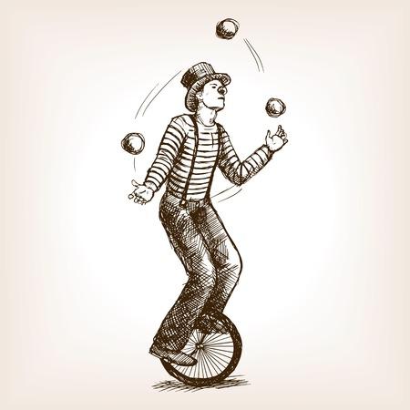 레트로 빈티지 오래 된 외발 자전거 외모 스케치 스타일 그림에 요술 쟁이 남자. 오래 된 손으로 그려진 조각 모방. 외발 자전거를 타고있는 요술쟁이