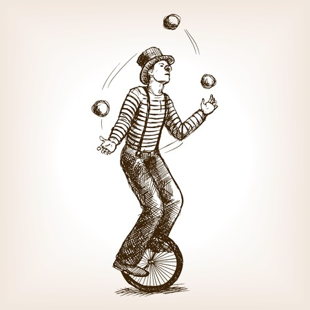 Juggler man on retro vintage old unicycle sketch style illustration. Old hand drawn engraving imitation. Juggler circus on a unicycle Çizim