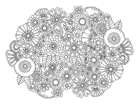 Flowers decor ornament coloring book for adults illustration. Anti-stress coloring for adult. Black and white lines. Lace pattern