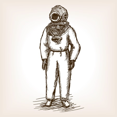 Vintage diver man with diving dress sketch style illustration. Old hand drawn engraving imitation. Vintage antique diver