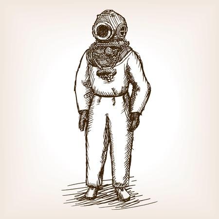 Vintage duiker man met Diepzeeduiken schets stijl illustratie. Oude hand getekende graveren imitatie. Vintage antieke duiker