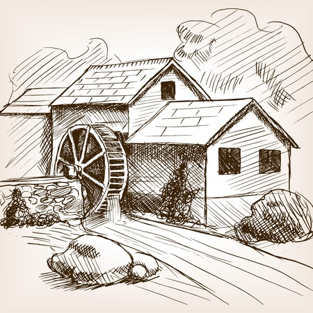 Water mill sketch style illustration. Old engraving imitation. Water mill hand drawn sketch imitation