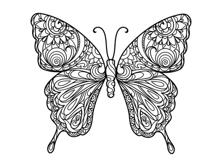 white butterfly: Butterfly coloring book for adults illustration. Anti-stress coloring for adult. Black and white lines. Lace pattern