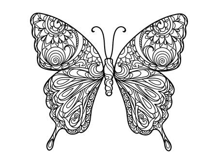 Mariposa de libro para colorear para los adultos ilustración. Antiestrés colorear para adultos. líneas blancas y negras. modelo del cordón Ilustración de vector