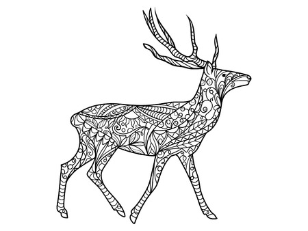 Deer coloring book for adults illustration. Anti-stress coloring for adult. Black and white lines. Lace pattern
