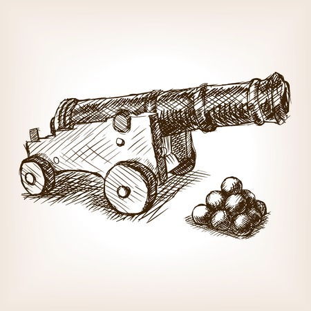 military draft: Old cannon sketch style illustration. Old engraving imitation. Vintage old cannon hand drawn sketch imitation