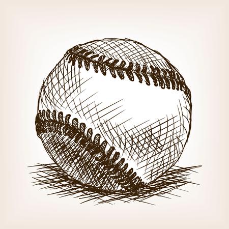 rough draft: Baseball ball sketch style illustration. Old engraving imitation. American baseball ball hand drawn sketch imitation Illustration