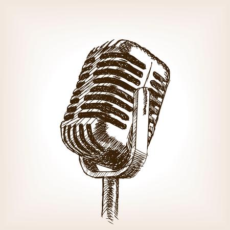 Vintage main microphone dessinée de style illustration. Ancienne gravure imitation. Vintage main microphone imitation croquis dessiné