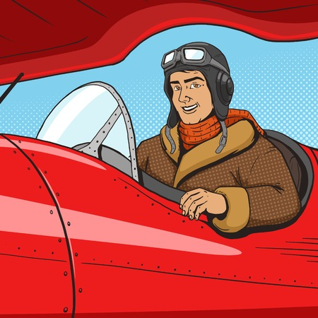 airman: Retro pilot in vintage plane pop art style vector illustration. Human illustration. Comic book style imitation. Vintage retro style. Conceptual illustration Illustration