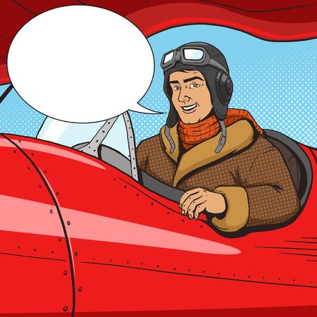 Retro pilot in vintage plane pop art style vector illustration. Human illustration. Comic book style imitation. Vintage retro style. Conceptual illustration Illustration