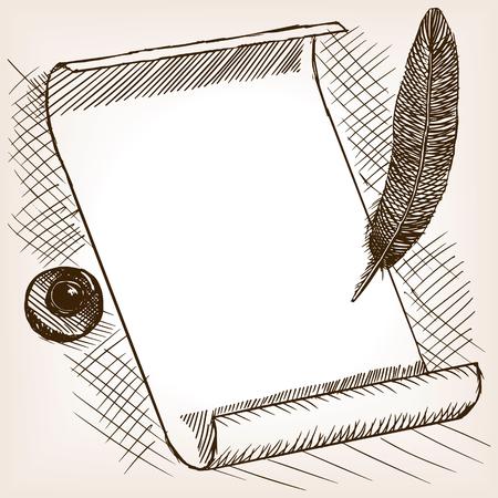 Vintage paper ink bottle and pen hand drawn style vector illustration. Old engraving imitation. Vintage paper ink bottle and pen hand drawn sketch imitation Çizim