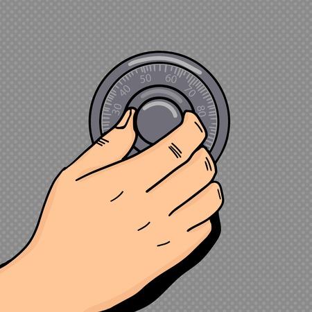 Hand draaien mechanische cijferslot pop art stijl vector illustratie. Menselijke hand illustratie. Comic book stijl imitatie. Vintage retro stijl. conceptuele illustratie
