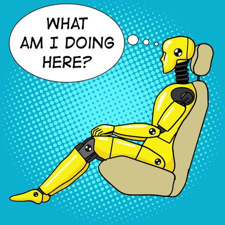 Crash test dummy pop art style vector illustration. Human dummy illustration. Comic book style imitation. Vintage retro style. Conceptual illustration