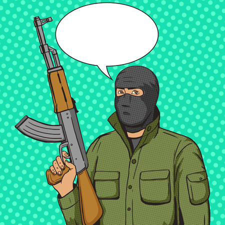 balaclava: Terrorist man with machinge gun weapon pop art style vector illustration. Human illustration. Comic book style imitation. Vintage retro style. Conceptual illustration Illustration