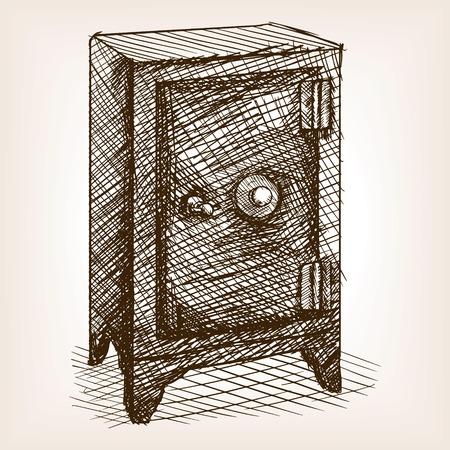 drawn metal: Vintage safe sketch style vector illustration. Old engraving imitation. Vintage safe metal box hand drawn sketch imitation