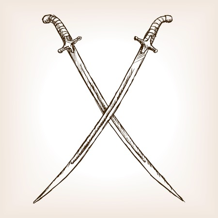 sabre's: Vintage crossed sabres sketch style vector illustration. Old engraving imitation. Vintage crossed sabres hand drawn sketch imitation Illustration