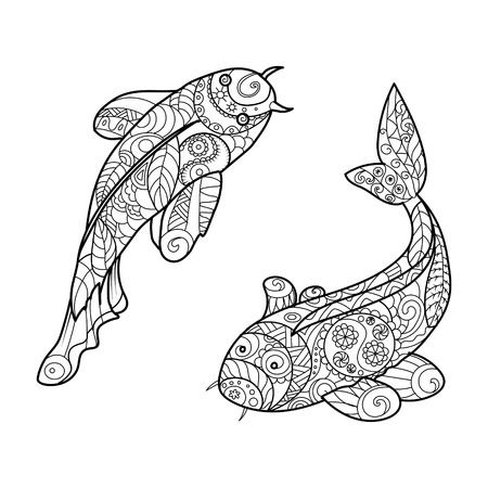 Koi carp fish coloring book for adults vector illustration. Illustration