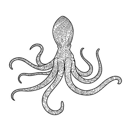 Crab Meer Tier Malbuch Für Erwachsene Vektor-Illustration. Anti ...