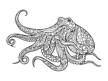 성인 벡터 일러스트 레이 션 낙지 바다 동물 색칠하기 책.