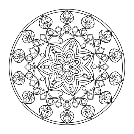 Circle mandala ornament coloring book for adults vector illustration.