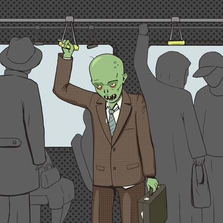 rotten teeth: Zombie goes to work by public transport pop art style vector illustration. Comic book style imitation. Vintage retro style. Conceptual illustration