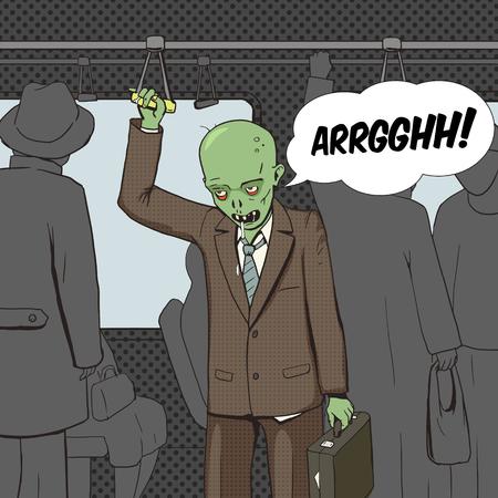 Zombi va a trabajar por el estilo de ilustración vectorial arte pop transporte público. Cómica imitación del estilo del libro. estilo retro de la vendimia. ilustración conceptual