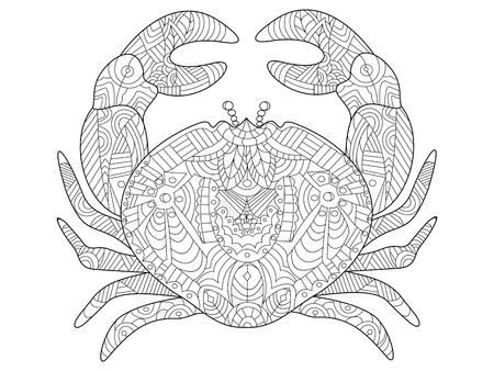 Cangrejo de mar de animales para colorear para los adultos ilustración vectorial.