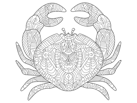 color tribal tattoo: Crab sea animal coloring book for adults vector illustration.
