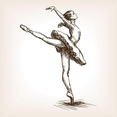 발레 댄서 소녀 스케치 스타일 벡터 일러스트 레이 션. 오래 된 손 조각 모방을 그려. 발레리나 여자 일러스트