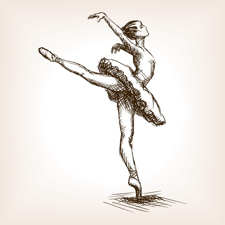 ballerina silhouette: Ballet dancer girl sketch style vector illustration. Old hand drawn engraving imitation. Ballerina woman
