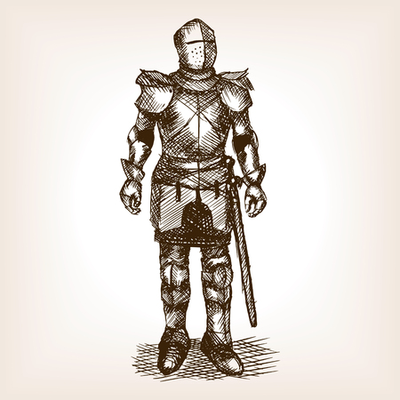armour: Medieval knight armour and sword sketch style vector illustration. Old hand drawn engraving imitation. Historical human armor