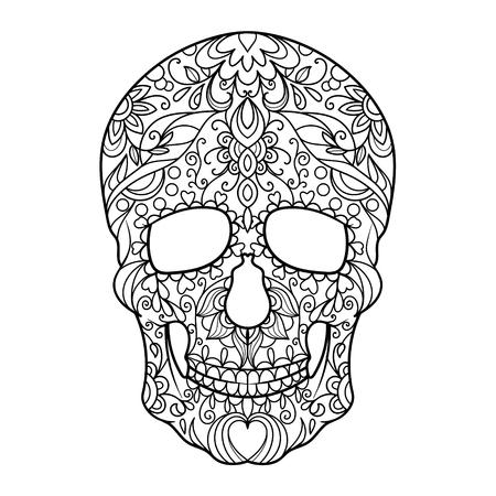 湖南省の頭蓋骨は大人ベクトル イラストの塗り絵。 写真素材 - 54455180