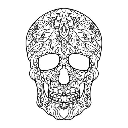 Hunan skull coloring book for adults vector illustration.